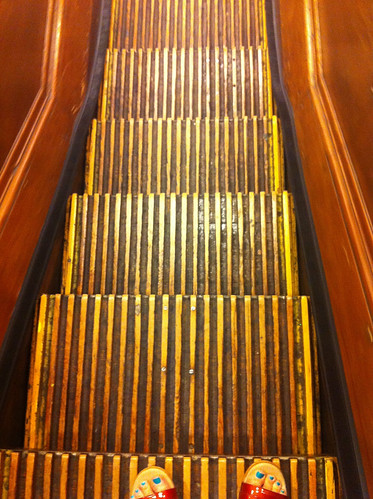 Wooden escalator gonna eat your toes