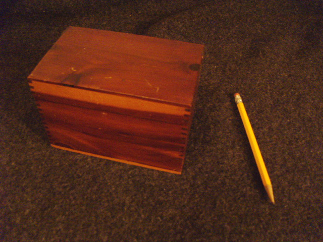 A Cedar recipe card box...