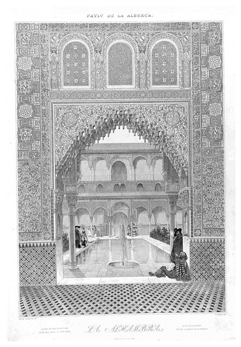 003-Patio de la Alberca visto desde la sala de la Barca-Plans- elevations- sections and details of the Alhambra 1842 –Vol. I-Jules Goury y Owen Jones