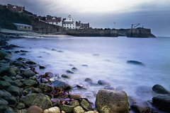 Crail Harbour (~ Maree ~) Tags: longexposure sea sky beach water scotland movement rocks waves moody harbour fife crail