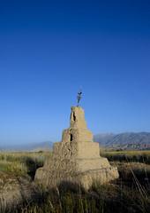Grave In A Cemetery In Kochkor Area, Kyrgyzstan (Eric Lafforgue) Tags: nature cemetery grave graveyard vertical death asia exterior wildlife horizon tomb bluesky nopeople centralasia kyrgyzstan steppe colorphoto 1125 kochkor kyrgyzrepublic kirghizistan kirgistan kirghizstan kirgisistan    quirguizisto
