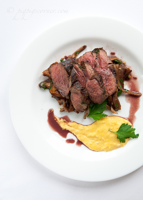 Grilled Kangaroo with Balsamic Mushrooms and Creamed Corn