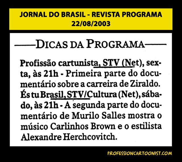 """Dicas da Programa"" - Jornal do Brasil - 22/08/2003"