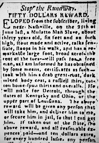 Newspaper notice of a runaway slave