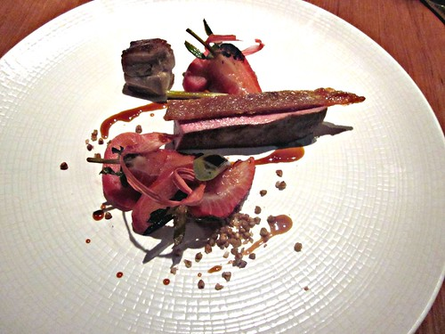 Atelier Crenn - San Francisco - June 2011 - Duck, Spring Garlic, Strawberry, Rhubarb, Smoked Buckwheat