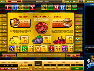 free Lucky Number slot game paytable