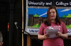 Kelly, NUS Womens' Organiser addresses UCU Strike Rally in Glasgow March 2011 (caledonianUnion) Tags: education strike picket glasgowcaledonianuniversity tradeunion ucu gcu industrialaction gcal universityandcollegeunion pamelagillies glasgowcaledonianuniversitycourt