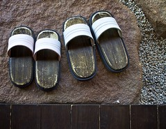 (Toilet slippers) (StephenCairns) Tags: wood texture rock japan flat sandals patterns shapes pebbles deck f8 gifu slippers geta 4star zori naturalpatterns patiostone canon50d 30mmf14sigma
