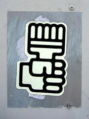 Power Brush (~db~) Tags: california usa streetart art america grey la losangeles sticker hand unitedstates drawing stickers gray brush socal fist publicart sfv sanfernandovalley laist clench 101fujidscf5280