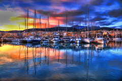Marina of Rethymno (Theophilos) Tags: morning sea sky clouds marina sunrise reflections greece crete rethymno sailers