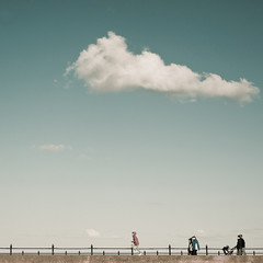(shaymurphy) Tags: ireland sky people girl clouds square 50mm nikon running minimal format minimalism nikkor f18 seafront wicklow bray irlanda irlande irska  irlandia  d700