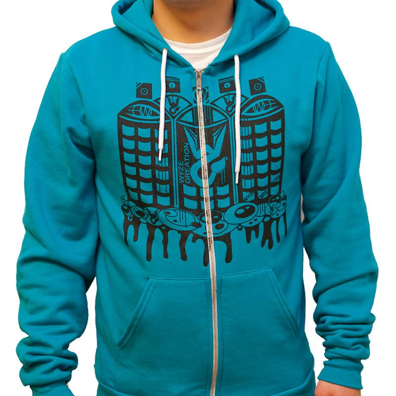 Spray Paint City Zip Up Hooded Sweatshirt (Front)