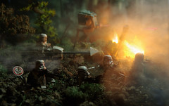 Empire AT War (Shobrick) Tags: city green fire star war lego smoke apocalypse walker jungle stormtrooper wars custom destroyed weapons invaders at shobrick