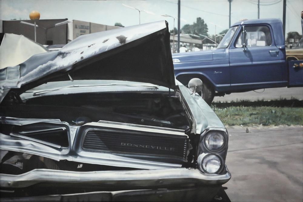 John Salt, Untitled (Cars, blue wreck and truck), 1971