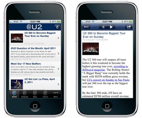 @U2 iPhone app screenshot/sample