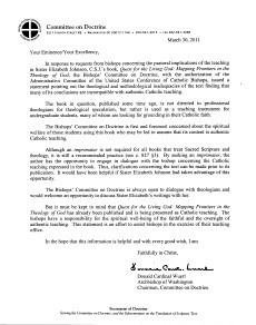 Statement from US Conference of Catholic Bis