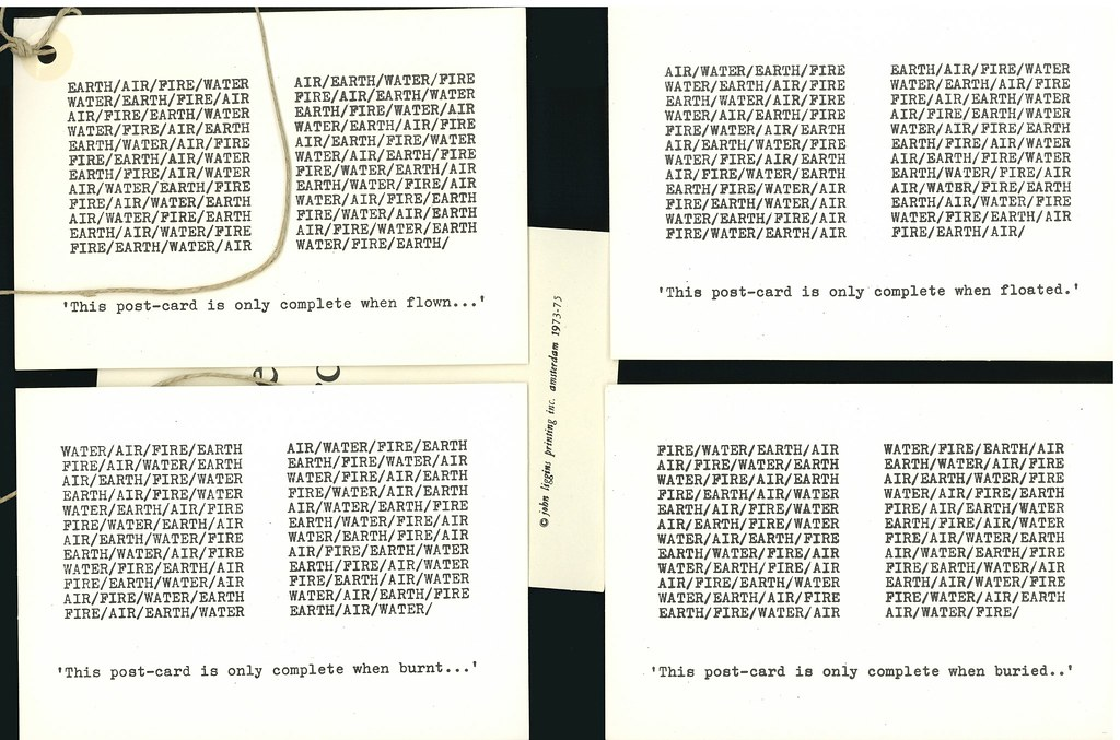 "Liggins, John.  Amsterdam (Self-published) 1975.  ""Elemental Cards"": 4 postcards."