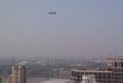 Goodyear Blimp passes Canary Wharf