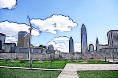 Sketch of Cleveland (Yuanshuai(TIM) Si) Tags: color windmill grass clouds photoshop buildings sketch downtown cleveland bule keytower bptower pentaxda1855mm pentaxk5