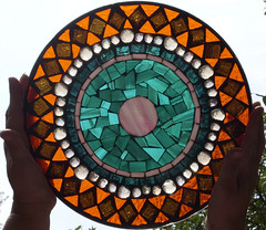 First Attempt - Serving Dish (Backlit) (Dabbles by DaraLynn) Tags: pink orange brown glass dish mosaic teal plate stained iridescent gems platter serving