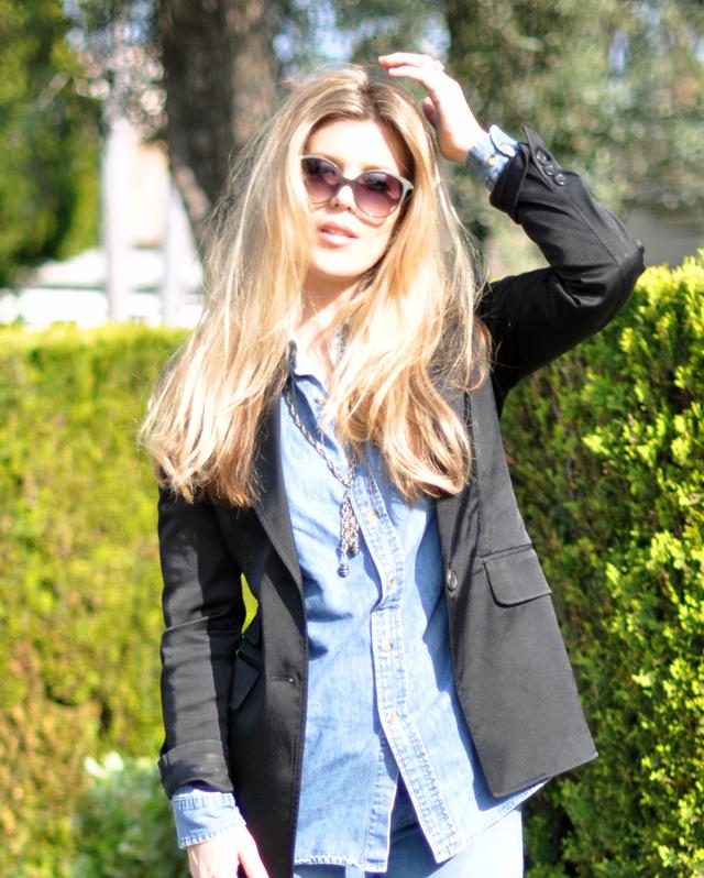 chloe sunglasses + long hair + black blazer