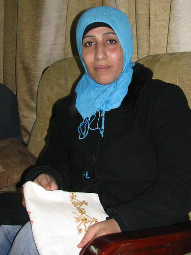 Manal and her embroidery