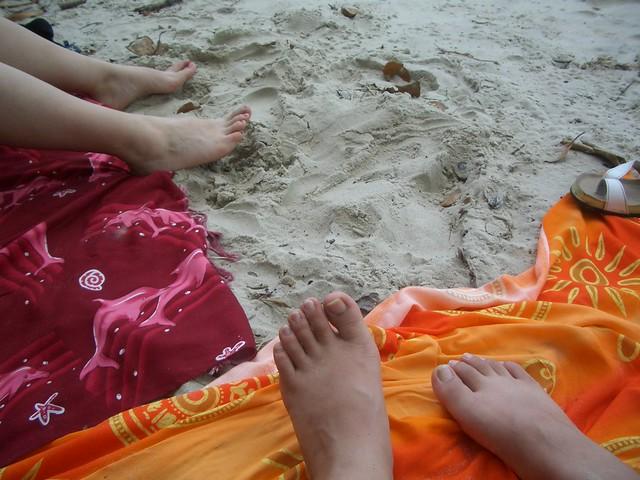 White sand and sarongs
