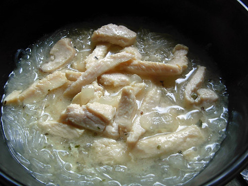 glass noodle soup with ginger lemon chicken