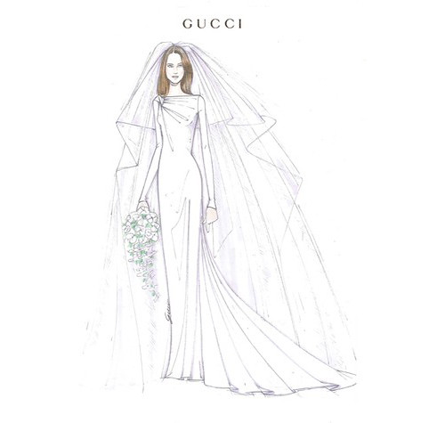 Wedding Dress Sketches - by Frida Giannini for Gucci -  Kate Middleton
