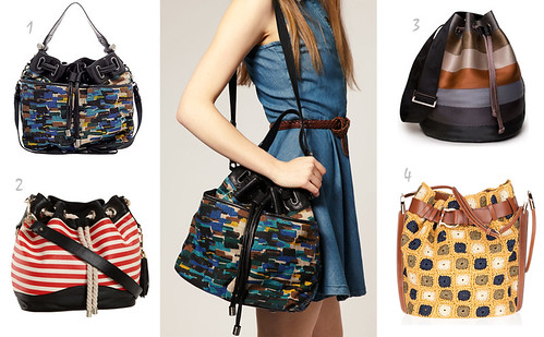 colorful bucket bags