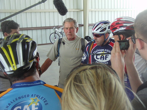 President Bush gives a pre-ride interview on Day One