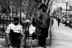Mouth full. (TieshkaSmithPhotography) Tags: urban men germantown philadelphia streetphotography streetscene boombox blackmen blackandwhitephotography candidshot vernonpark maneating manstanding northwestphiladelphia mancaughtwithmouthfull