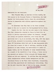 Memorandum for the President from William J. Donovan Regarding Distinguished Service Cross (DSC) Award to Virginia Hall, 05/12/1945, Page 1 of 2