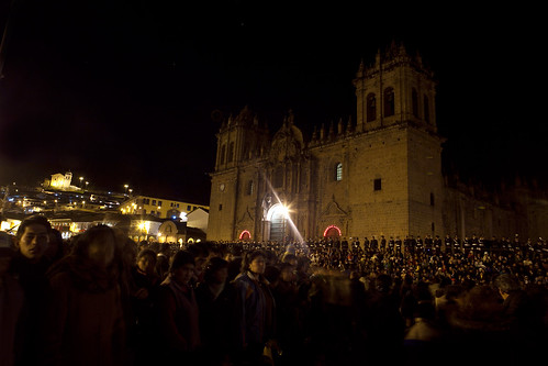 Cuzco Cathedral at night