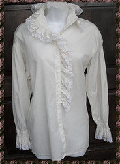 Victorian Inspired Ivory Cotton & Lace Ruffled Blouse Full Length Front 1 (mondas66) Tags: ruffles lace victorian ascot blouse cotton poet romantic elegant ornate lacy dainty prim frilly elegance jabot ruffle demure blouses frills frill ruffled flouncy flounce lacework frilled flounces frilling frillings befrilled