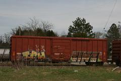 ich tint (great deku tree) Tags: railroad tree art train bench circle t graffiti stock rail tint 63 yme boxcar ich railfan freight rolling itd deku benching