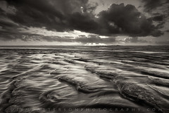 Outbound - San Gregorio State Beach, California (Jim Patterson Photography) Tags: ocean california sunset usa sun seascape fall beach monochrome sepia clouds creek landscape coast coastal ripples sangregorio toned beams toning statebeach jimpattersonphotography jimpattersonphotographycom seatosummitworkshops seatosummitworkshopscom