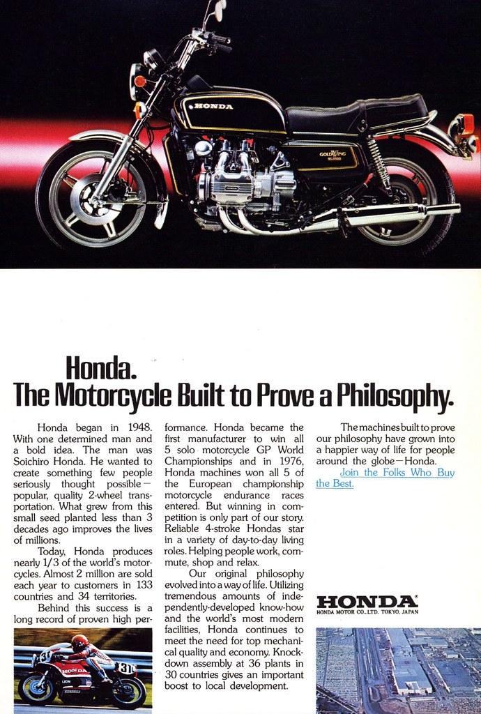 1978 Honda Gold Wing SL1000 motorcycle ad