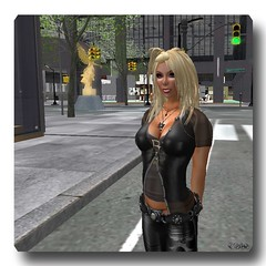 Here I Am... (CallieDel Boa - Peace & Love) Tags: nyc cute real sl busy secondlife virtual blonde rl cityart crossreality netcityart newyorkcitysl