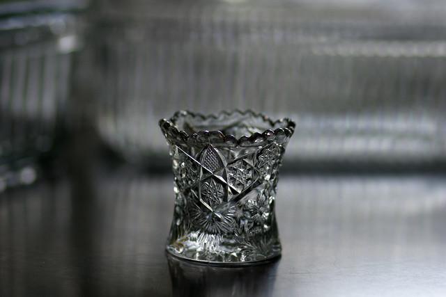 gold-rimmed shot glass