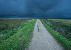 Blakeney (Duncan George) Tags: uk storm landscape coast landscapes nikon norfolk northsea dramaticsky footpath saltmarsh eastanglia blakeney cley saltmarshes d700 freshmarshes