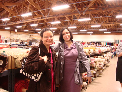 me and Jacqui at Fishman's fabrics