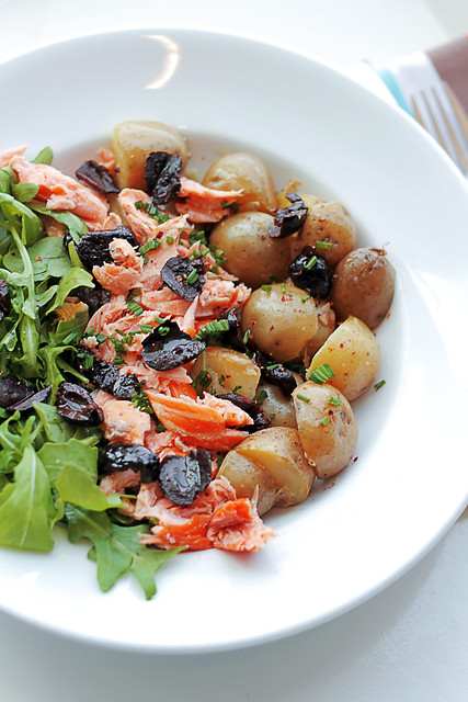 Salmon, New Potatoes and Black Olives