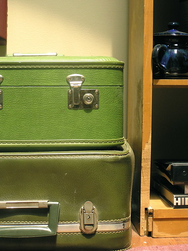 Green suitcases