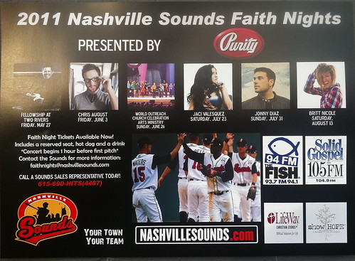 Show Hope is proud to be a sponsor of 2011 Nashville Sounds Faith Nights