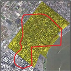 the site is about the same size as the French Quarter (from draft Jamestown Mall Redevelopment Plan)