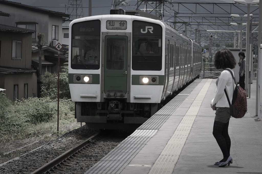 arrival of the local train to Sendai