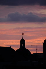 bell tower in evening 22 o'clock 15.06.11 2 (jean matthieu) Tags: pink roof light sunset summer vacation chimney sky urban cloud sun france color bird tower art church sunshine birds architecture clouds canon landscape geotagged photography evening soleil photo spring europe tour view bell photos lumire pigeon corneille belltower roofs ciel nancy cupola dome parma fowl crow soire patsy nuage soir raven toit lorraine ruff couleur coucherdesoleil urbanlandscape chemine volatile corbeau panoramicview stnicolaschurch meurtheetmoselle blackraven glisestnicolas