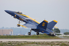 Blue Angel 5 takes off (JetImagesOnline) Tags: team fighter navy jet airshow demonstration hornet blueangels quonset fa18