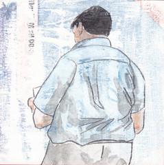 # 269 (25-09-2016) (h e r m a n) Tags: herman illustratie tekening bock oosterhout zwembad 10x10cm 3651tekenevent tegeltje drawing illustration karton carton cardboard back rug rucke ruggenfiguur ruckenfigur read reading reader lezer lezen